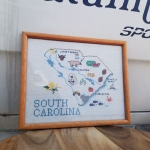 Vintage South Carolina Cross Stitch State Frame